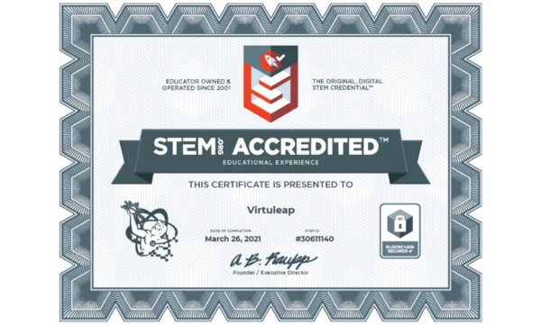 Virtuleap accredited by STEM.org
