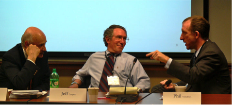 SAIC/Leidos' Jeffrey Cooper (middle), a founding member of the Pentagon's Highlands Forum, listening to Phil Venables (right), senior partner at Goldman Sachs, at the 2010 Forum session on cyber-deterrence at the CSIS