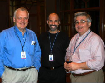 John Rendon (right) at the Highlands Forum, accompanied by BBC anchor Nik Gowing (left) and Jeff Jonas, IBM Entity Analytics chief engineer (middle)