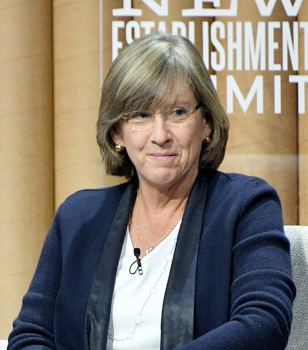 Mary Meeker sitting onstage.