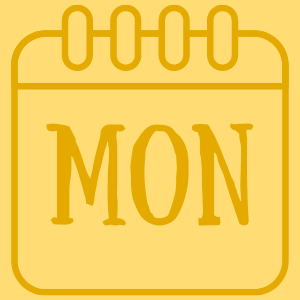 """Yellow square with a calendar outline with the word """"Mon"""""""