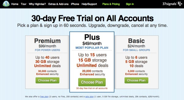 Screenshot of 30-day free trial options