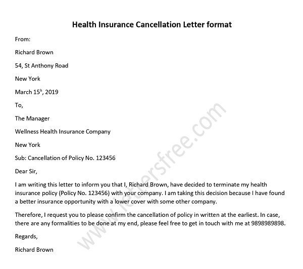 Health Insurance Cancellation Letter | by Marisa Ritzman ...
