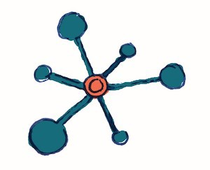 illustration of the concept of connection with a little network