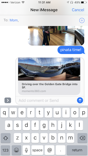 How to send a 360 photo to someone using Apple iMessage