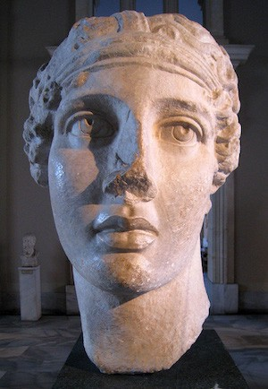Marble bust of the ancient Greek poet Sappho.