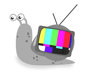 Illustration of a snail with a TV for a shell.