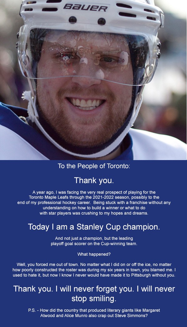Phil Kessel places full-page ad in Toronto Star thanking