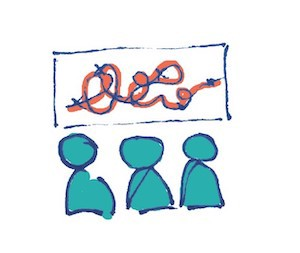 illustration of the concept of strategy with 3 people in front of a whiteboard