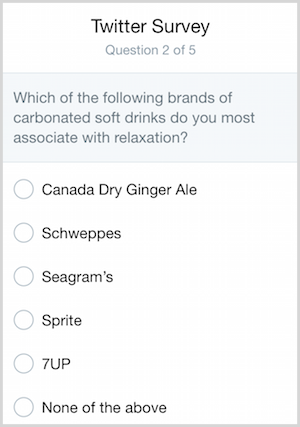 A Twitter survey about the associations of various brands of ginger ale.