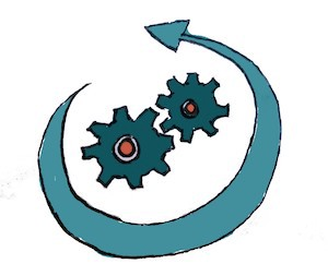illustration of the concept of processes with 2 little gears and an arrow around them