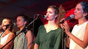 "l. to r. : Rita, Andrea, Magali, and Eva, perfectly duplicating Ella Fitzgerald's scat solo on ""How High The Moon."""