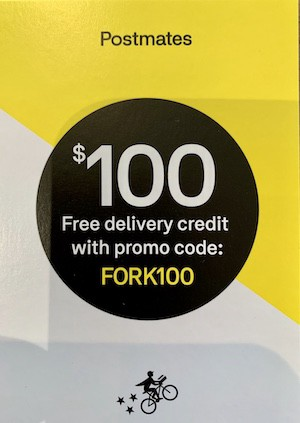 $100 free delivery coupon from Postmates