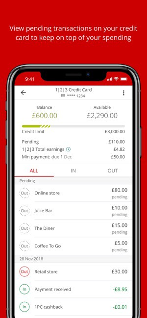 Phone screen showing a bank account with details of transactions, credit limit and total remaining budget to spend