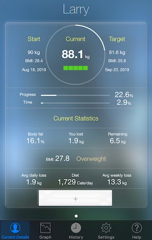 image of a screenshot of My Weight iPhone app