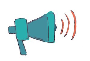 illustration of the concept of awareness with a loud speaker