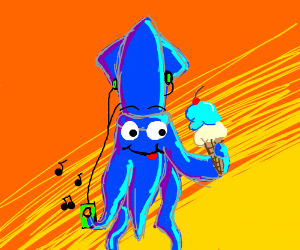 a cartoon squid eating ice cream
