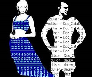 still from art piece agatha appears, woman and man made digital rendered from text and digits