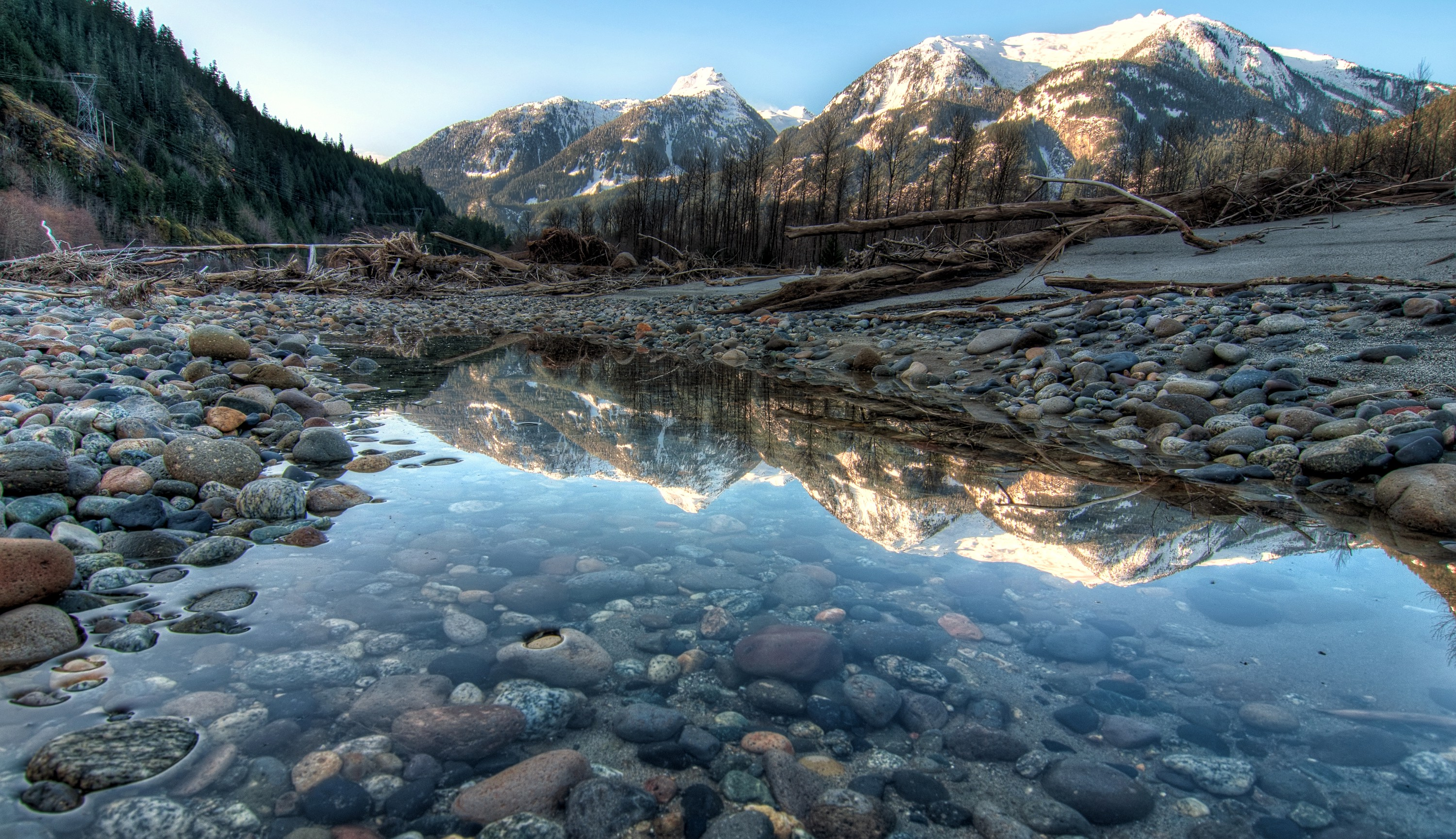 clear mountain landscape behind a glassy clear river