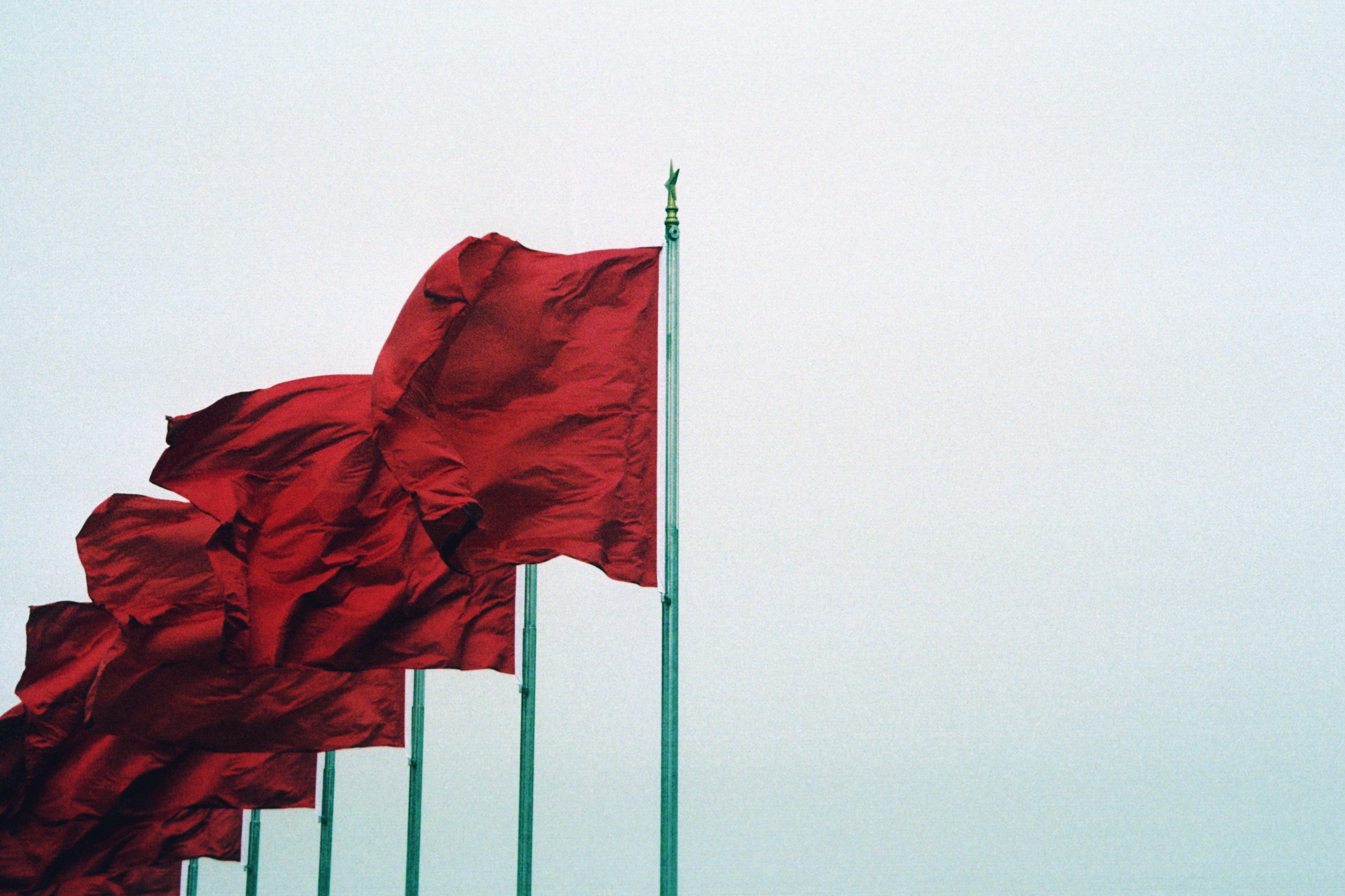 Red flags flying in Tiananmen Square