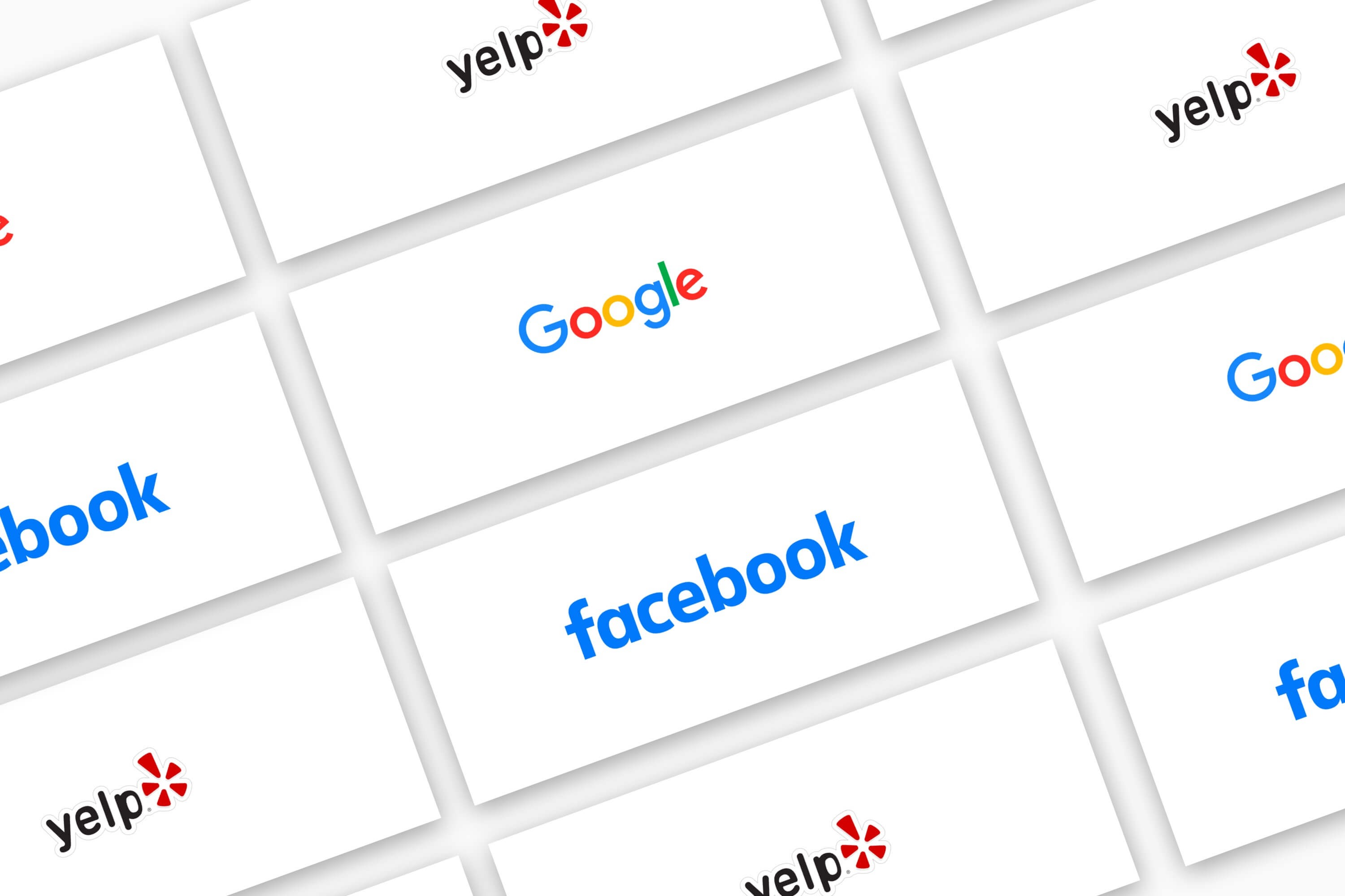 Logos for Google, Facebook and Yelp.