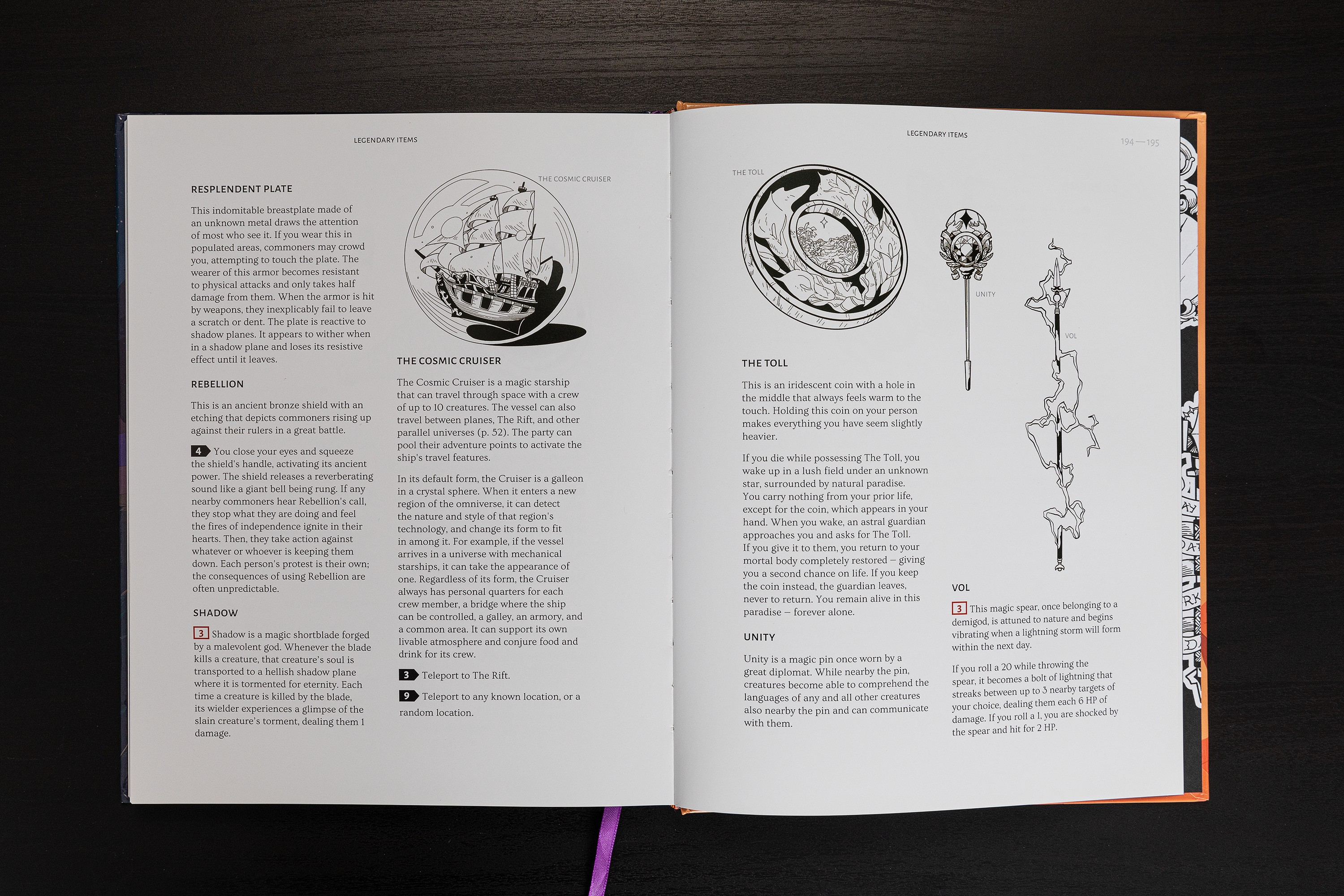 A two-page spread in the Quest Game Book with names and descriptions for Legendary items.
