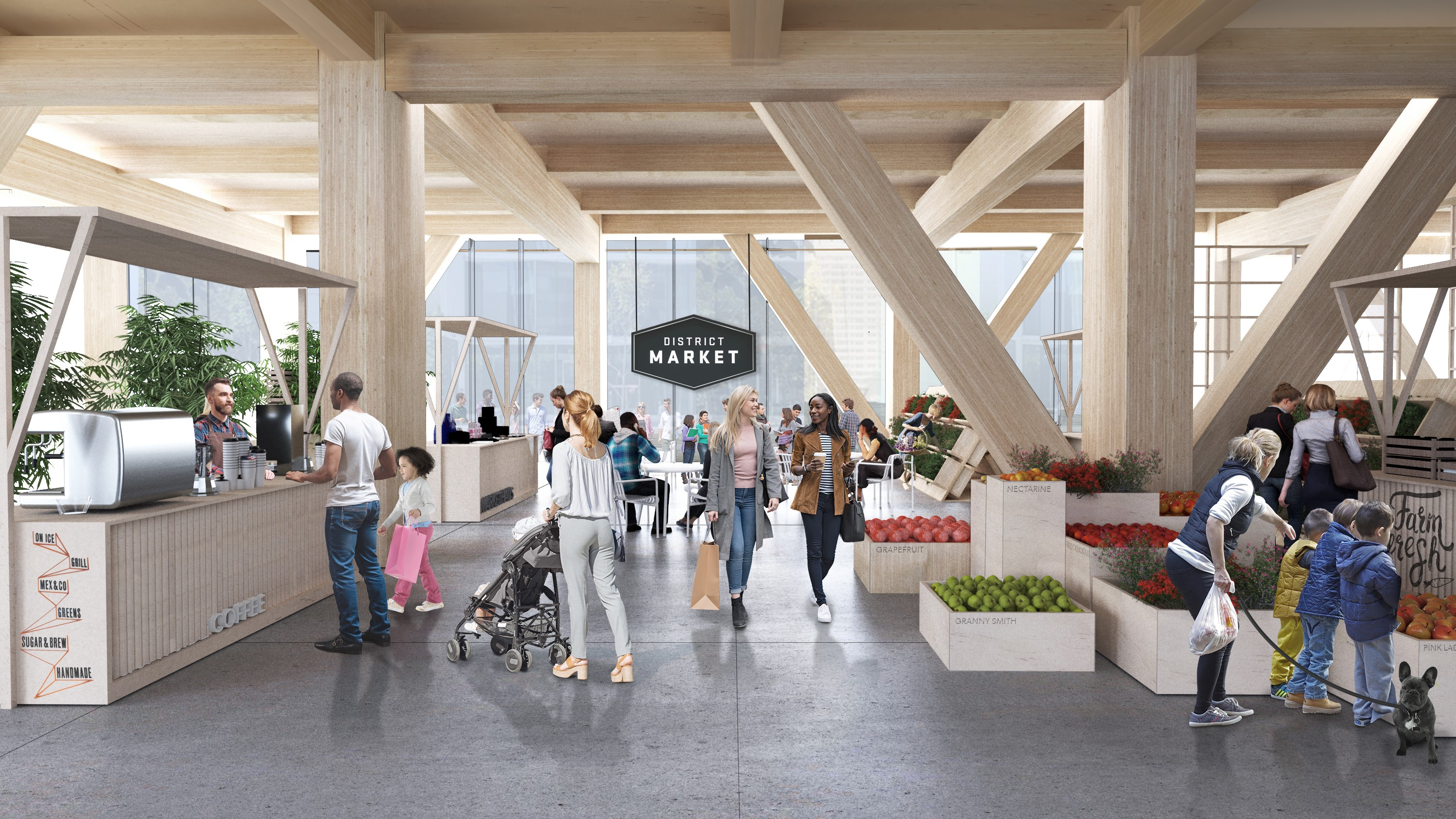 Architectural rendering of an airy, wood-filled space holding an indoor market. People walk and shop.