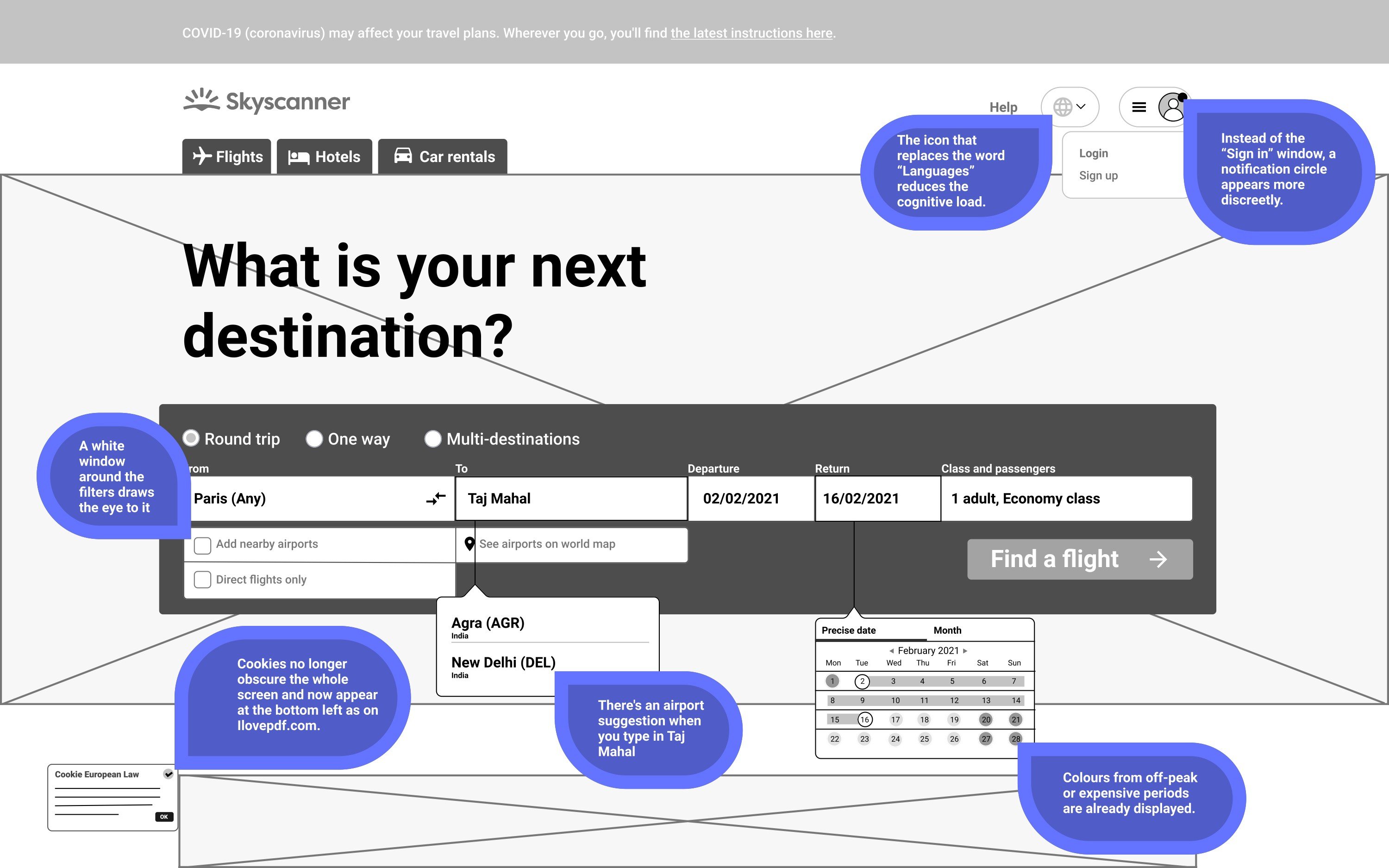 Black and white wireframe with commentaries about every proposition of change