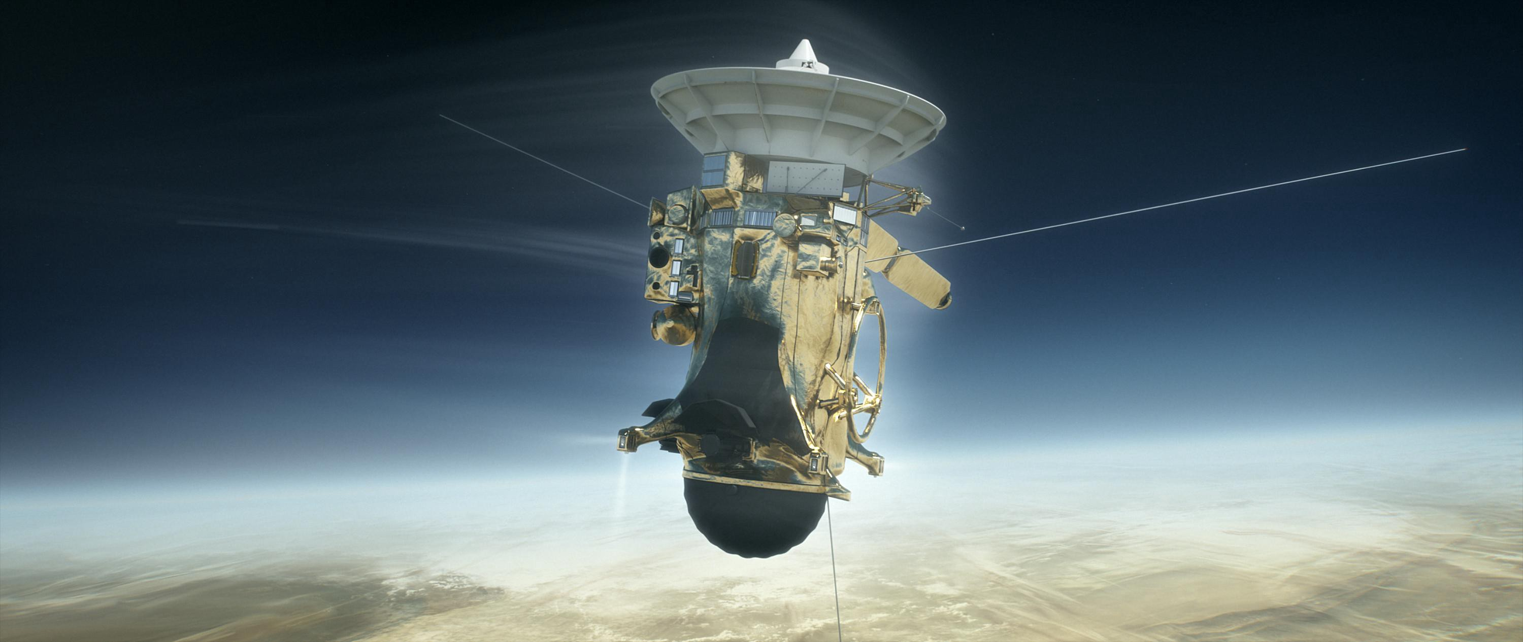 The Cassini spacecraft plunging into the atmosphere of Saturn.