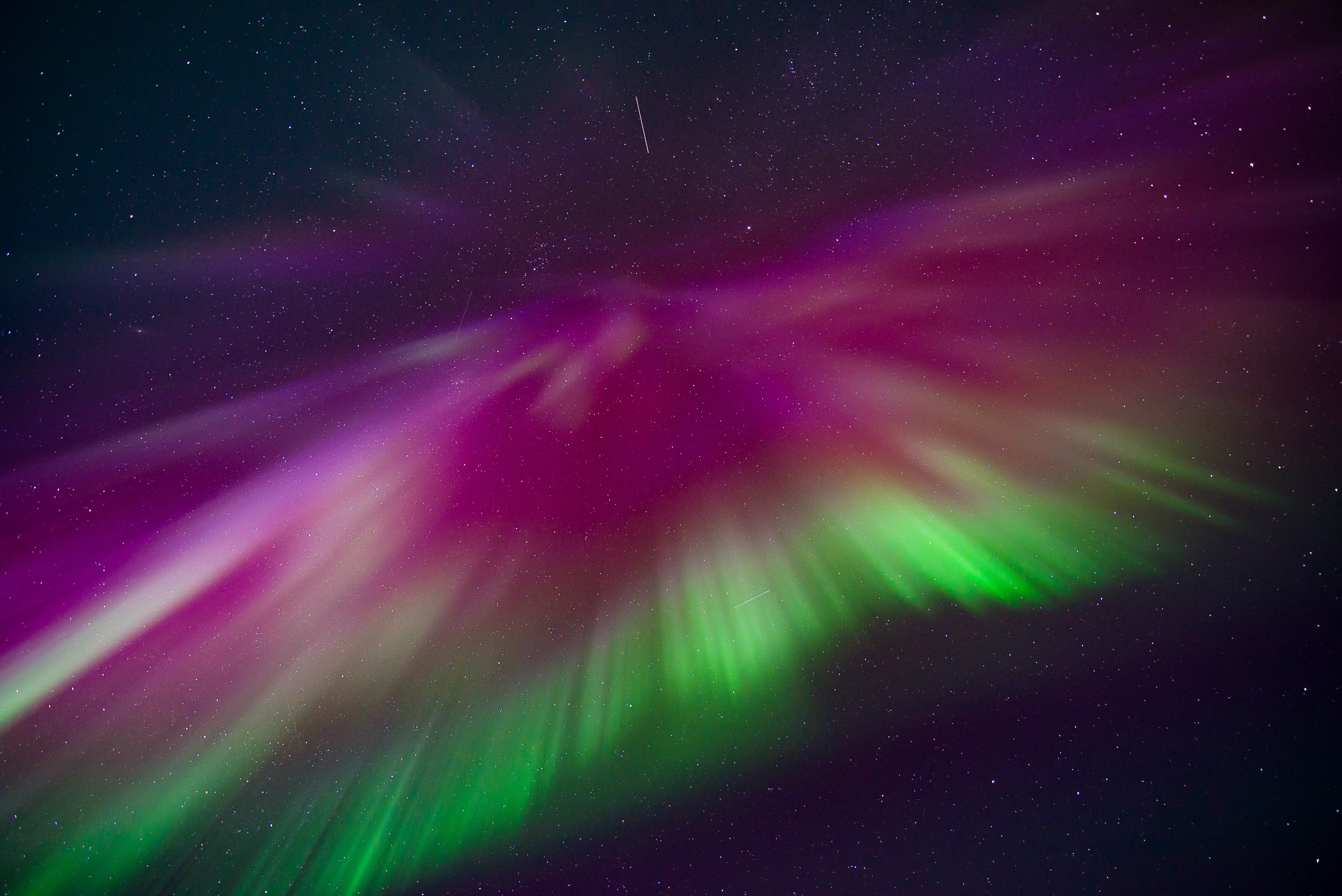 Bright purple and green rays of light spray out from above in a starry sky.