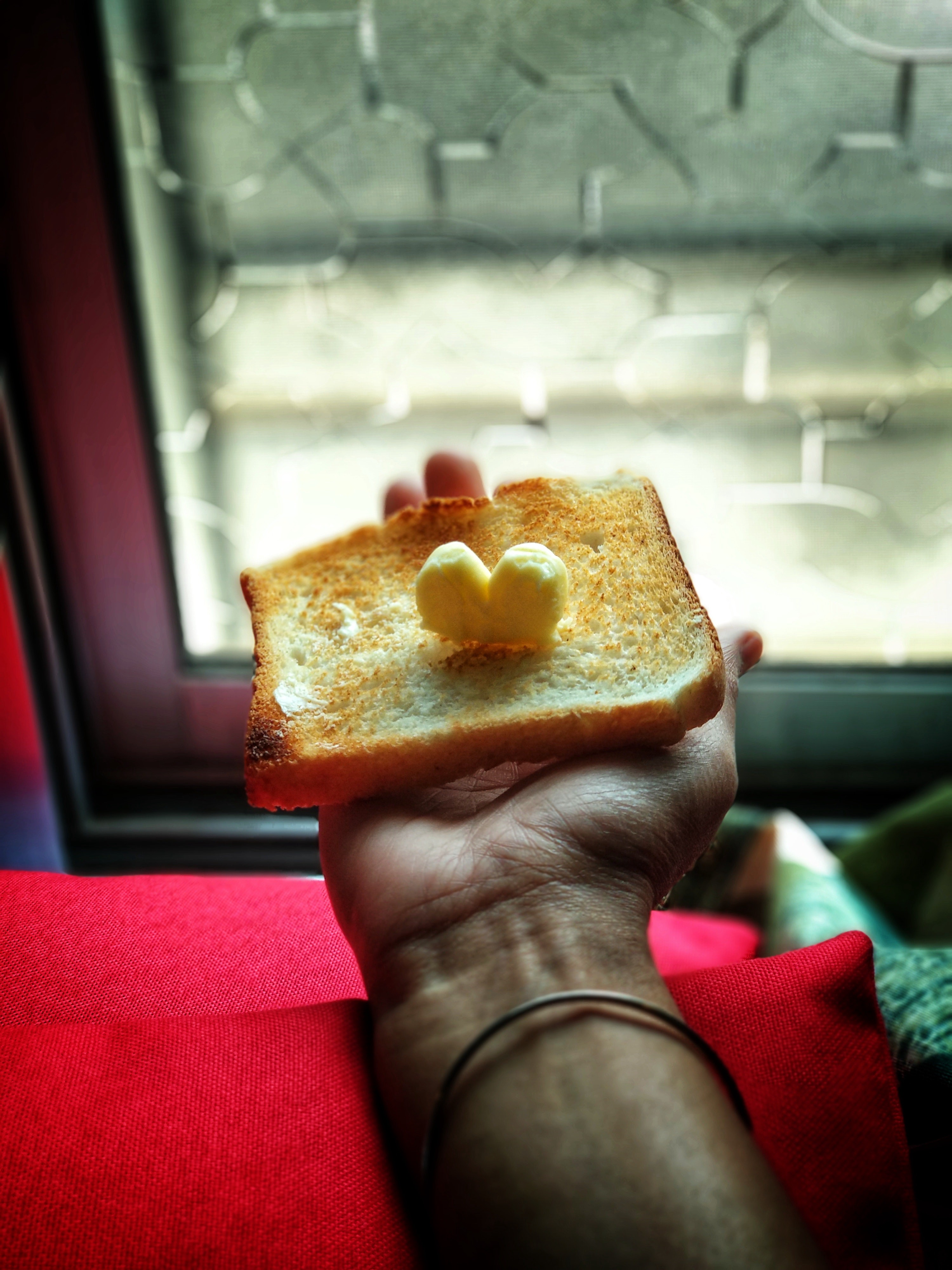 Person holding a piece of toasted bread with a small knob of unmelted butter on it.