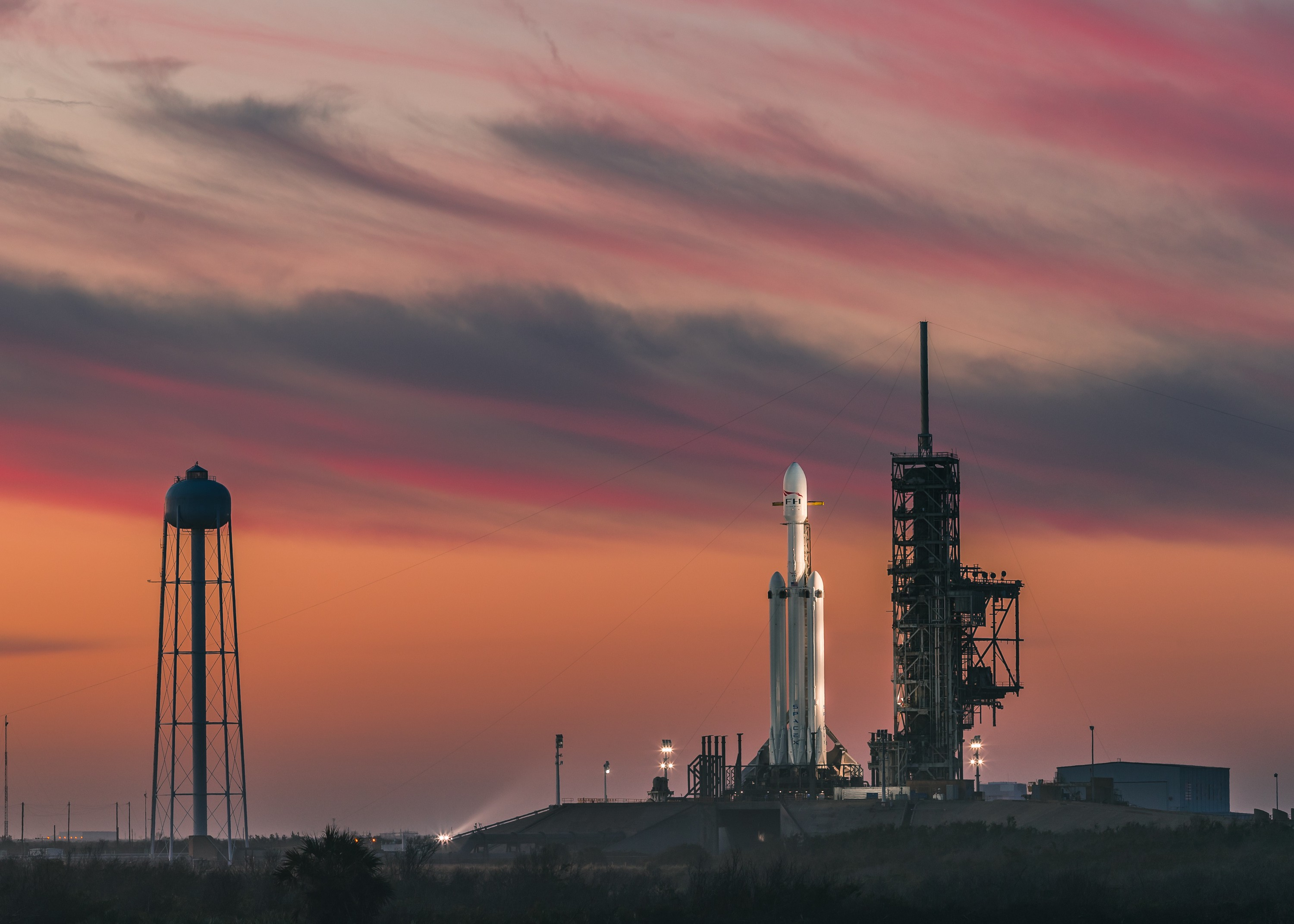 Falcon Heavy on the pad before its demo mission. Image credit: SpaceX