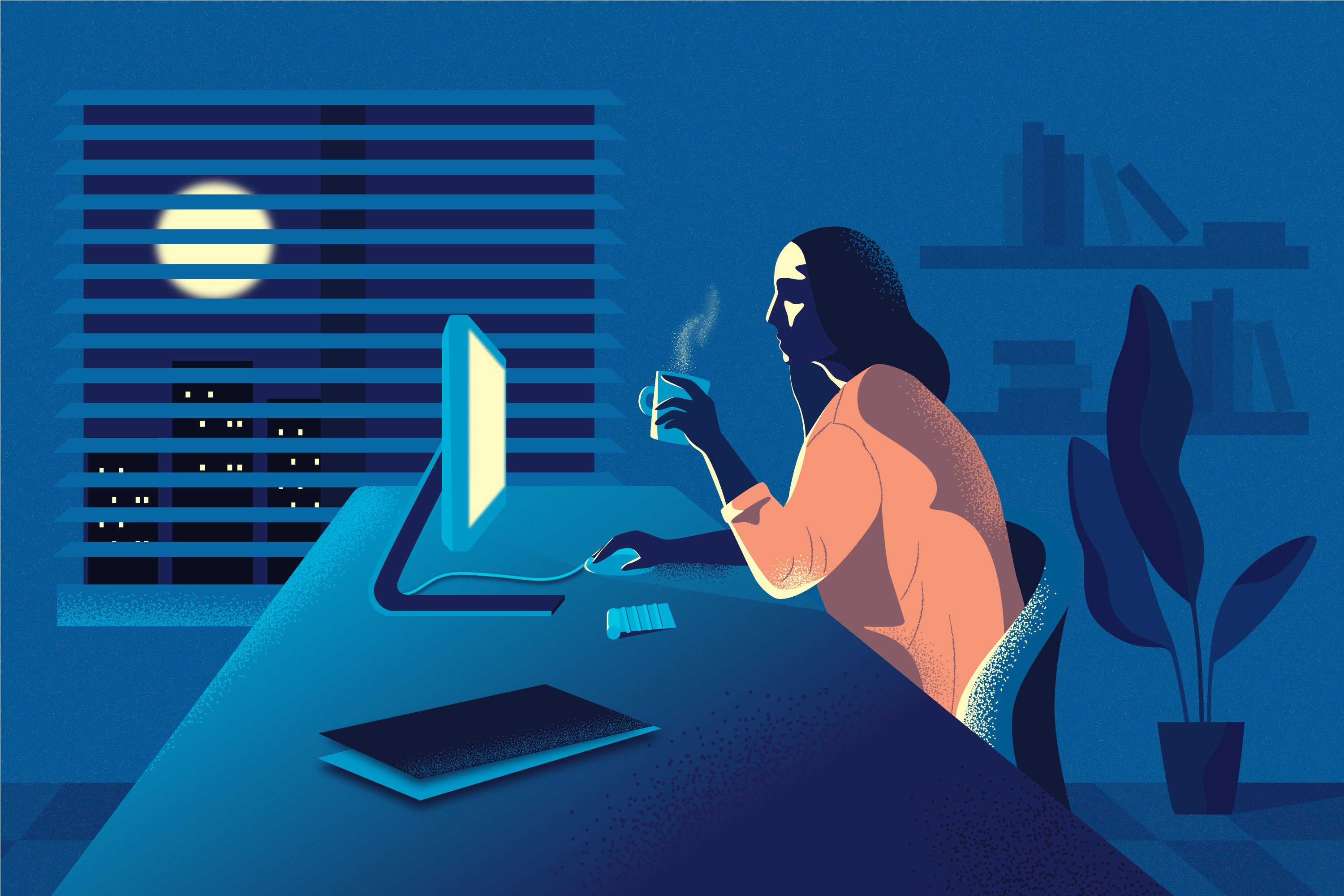 An illustration of a woman holding a cup of coffee and looking at her computer late at night.