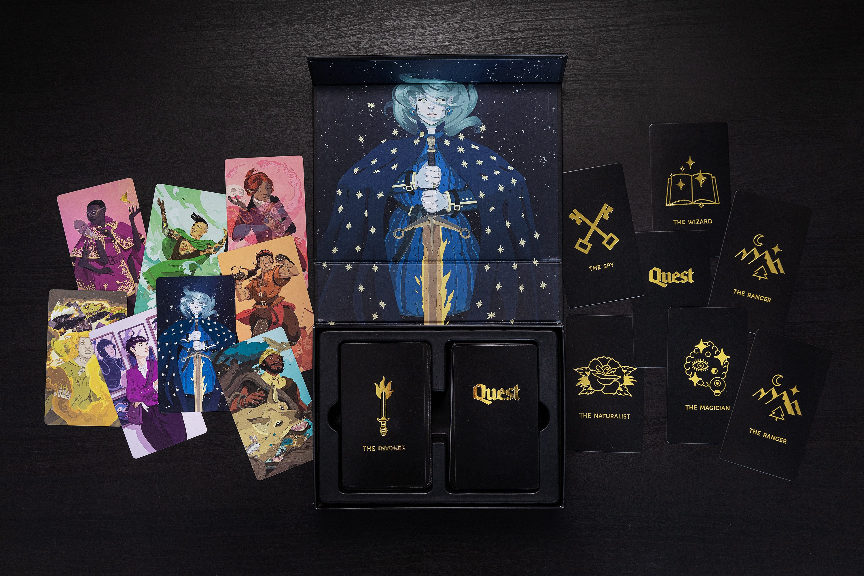 The Quest Core Deck: a box with a magnetic clasp and two stacks of tarot-sized cards inside.