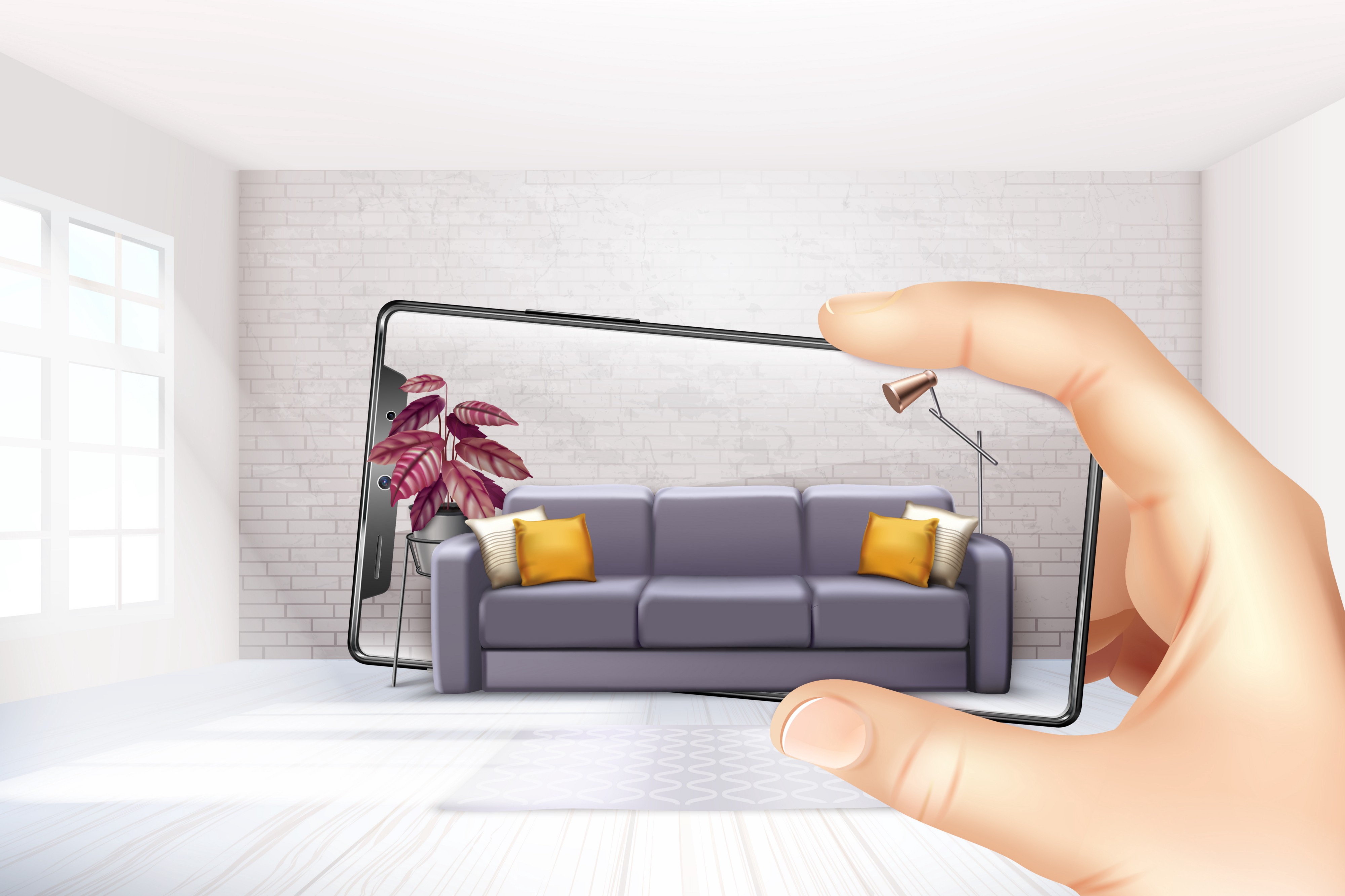 A graphic representation  of a cell phone on the hand of an user who visualize a sofa in an empty room. This experience is possible using Augmented Reality and allows us to increase ecommerce sales.