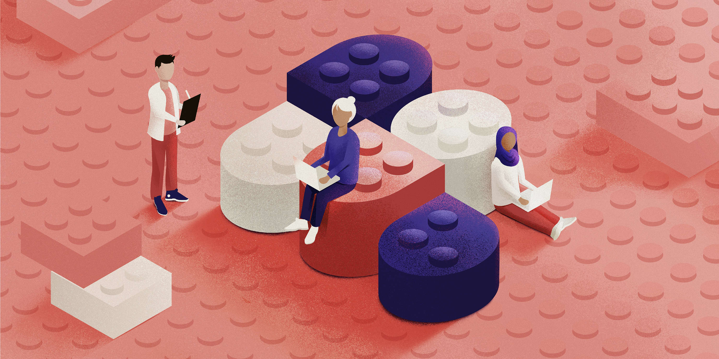 An illustration showing a series of building blocks stacked together. Three people sit among the building blocks, working on their laptops.