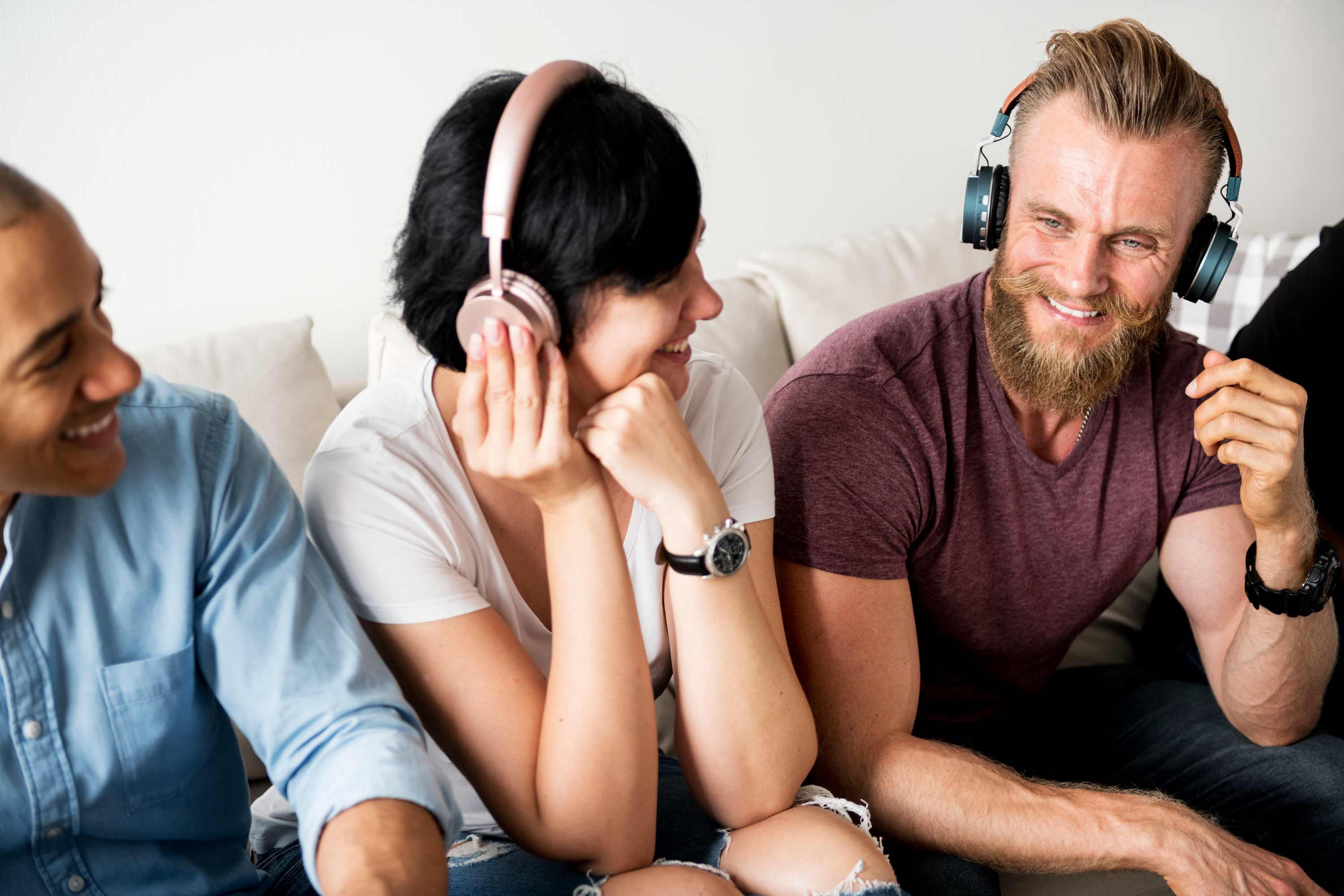 Three people listening to the Unlabeled Leadership podcast
