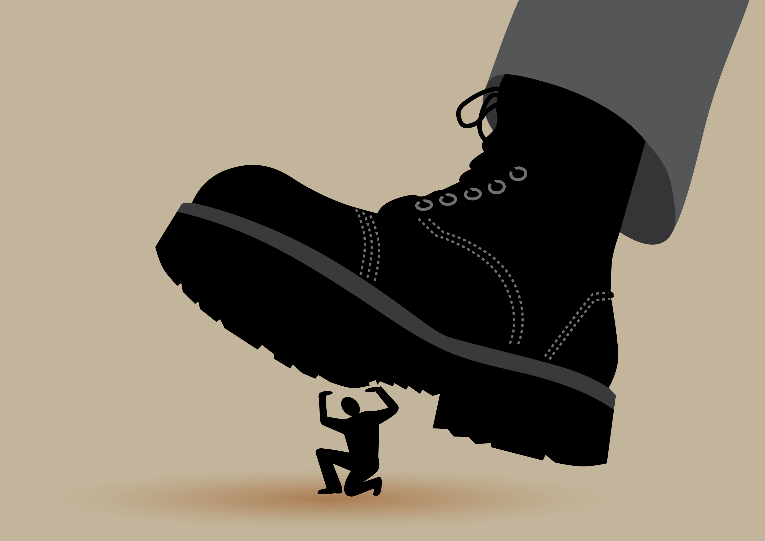 A giant boot crushing a tiny man