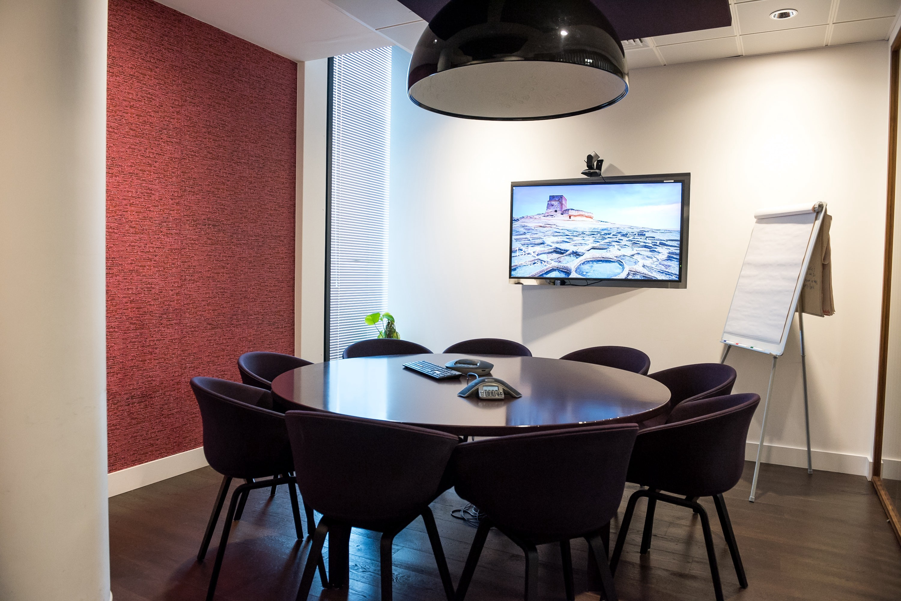 Conference room with video conferencing setup