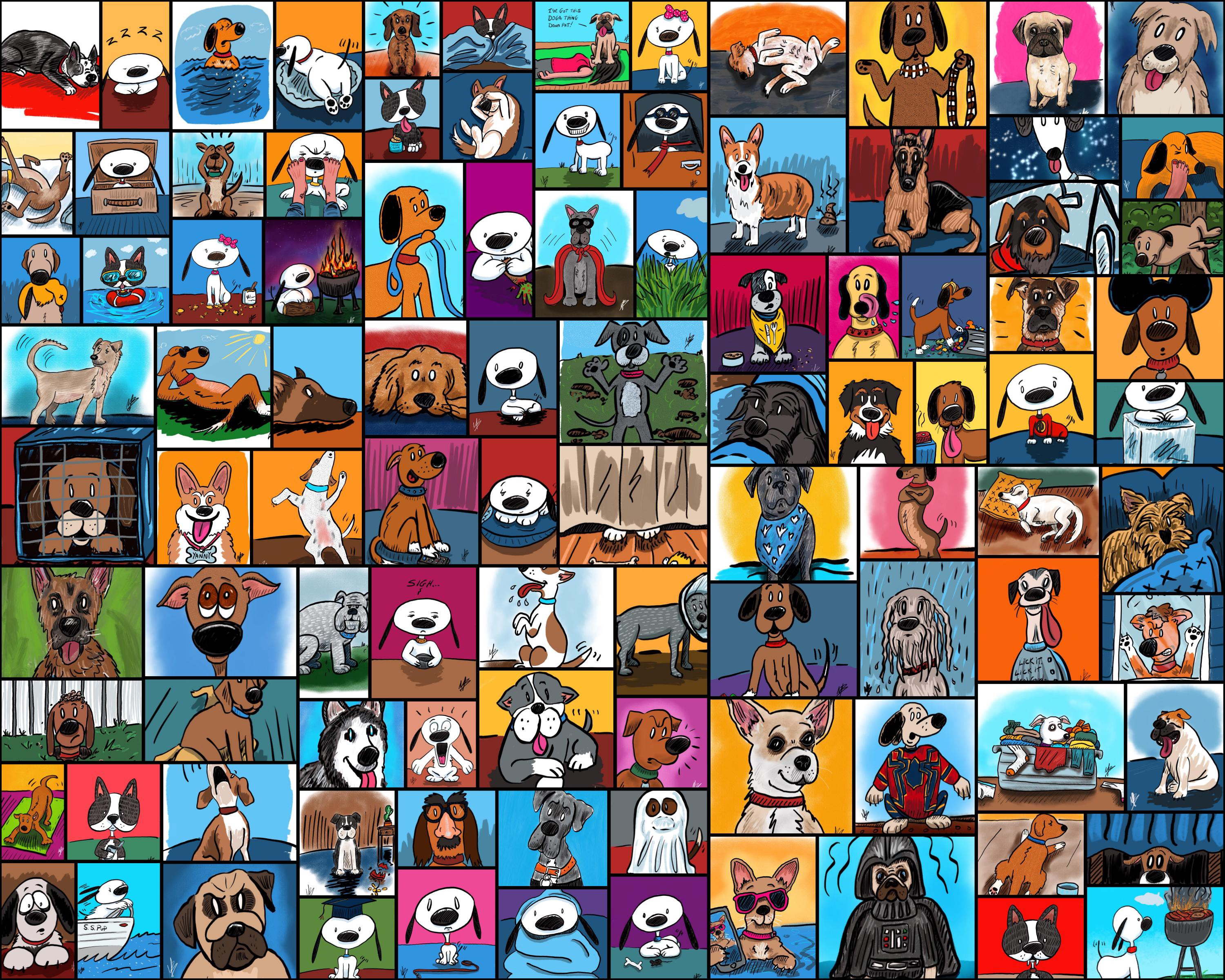 My 100 Day Project 100 Days Of Cartoon Dogs By Mike Brennan Art Marketing