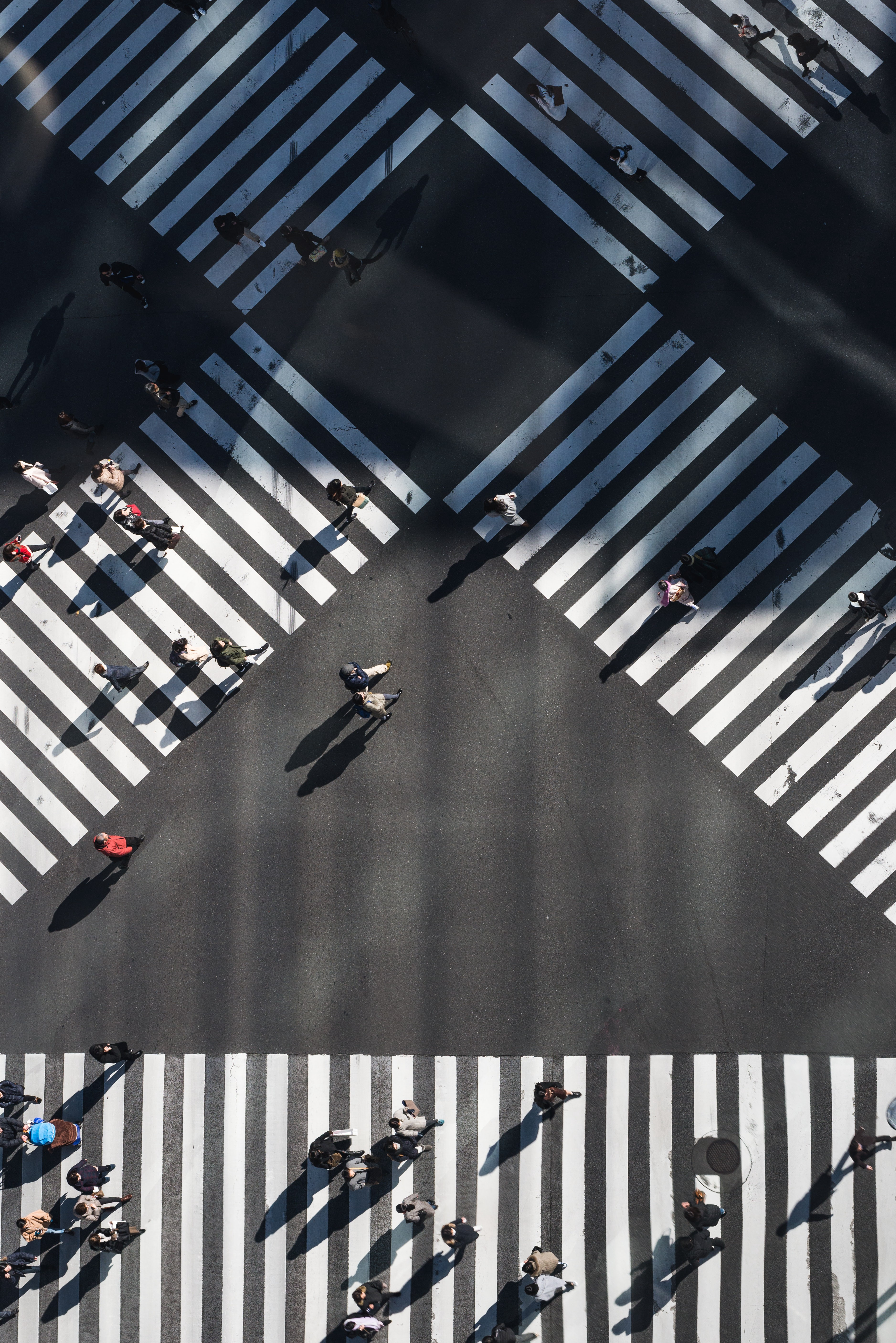 Intersections and people walking.