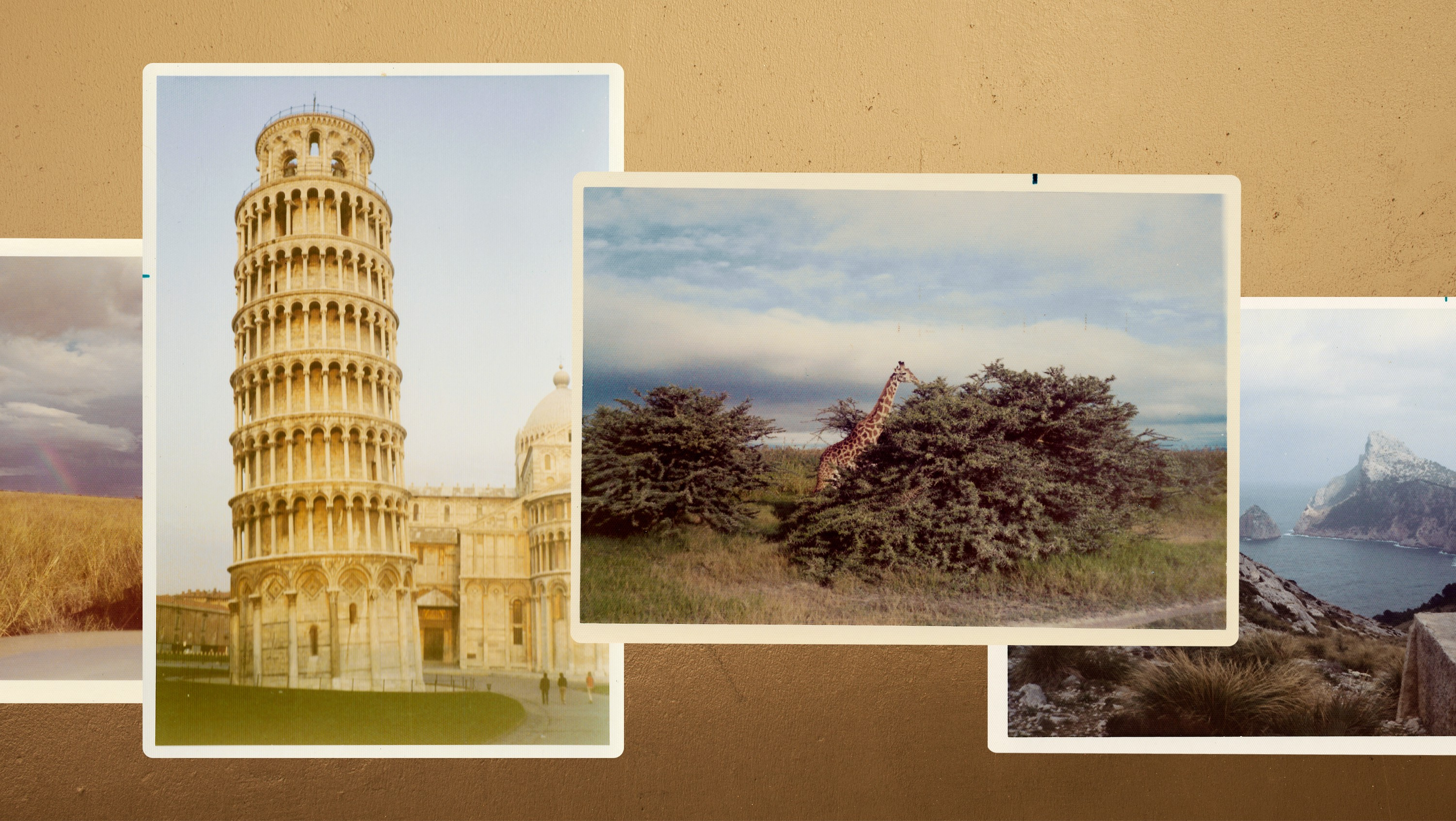 Vintage travel photographs on a gold textured background.