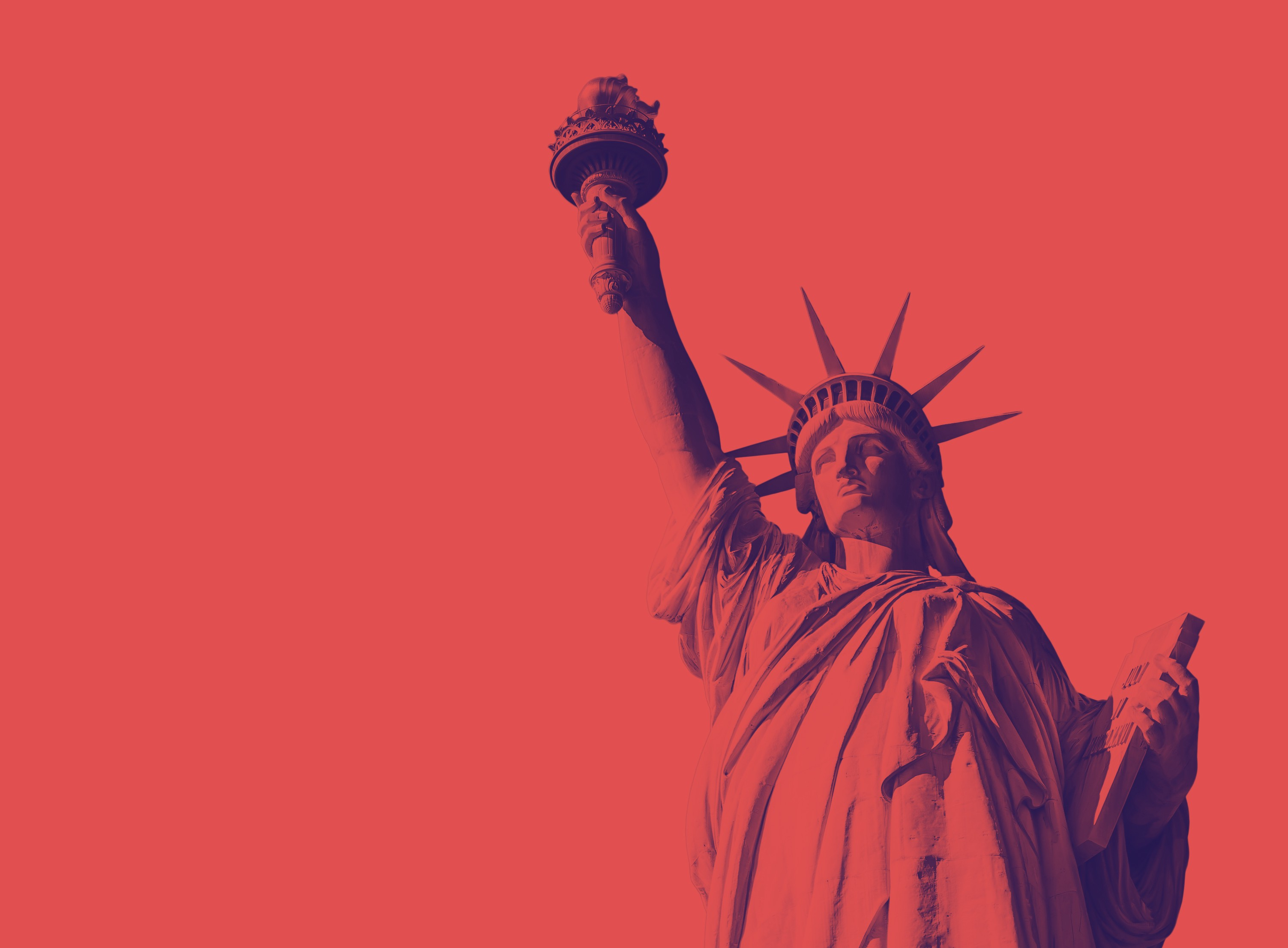 A photo of the Statue of Liberty against a red background.