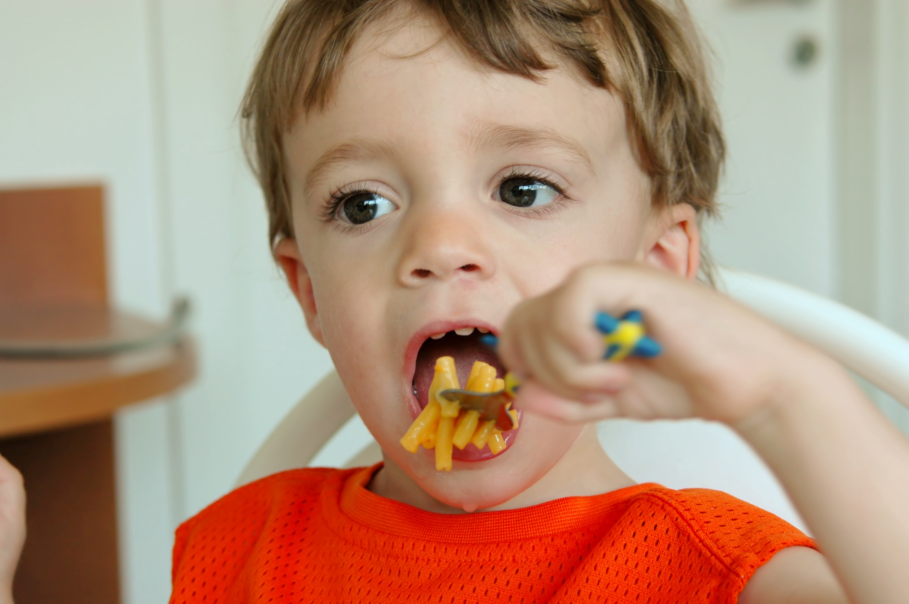 Little boy about to eat a spoonful of macaroni and cheese.