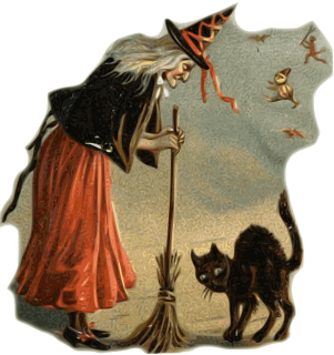 Painting of an old woman wearing a black pointy hat and holding a broom leaning over a black cat