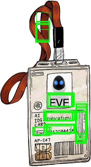 an ID badge with EVE written on it and multiple bounding boxes