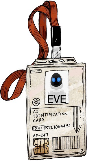 """an ID badge with """"EVE"""" written on it"""