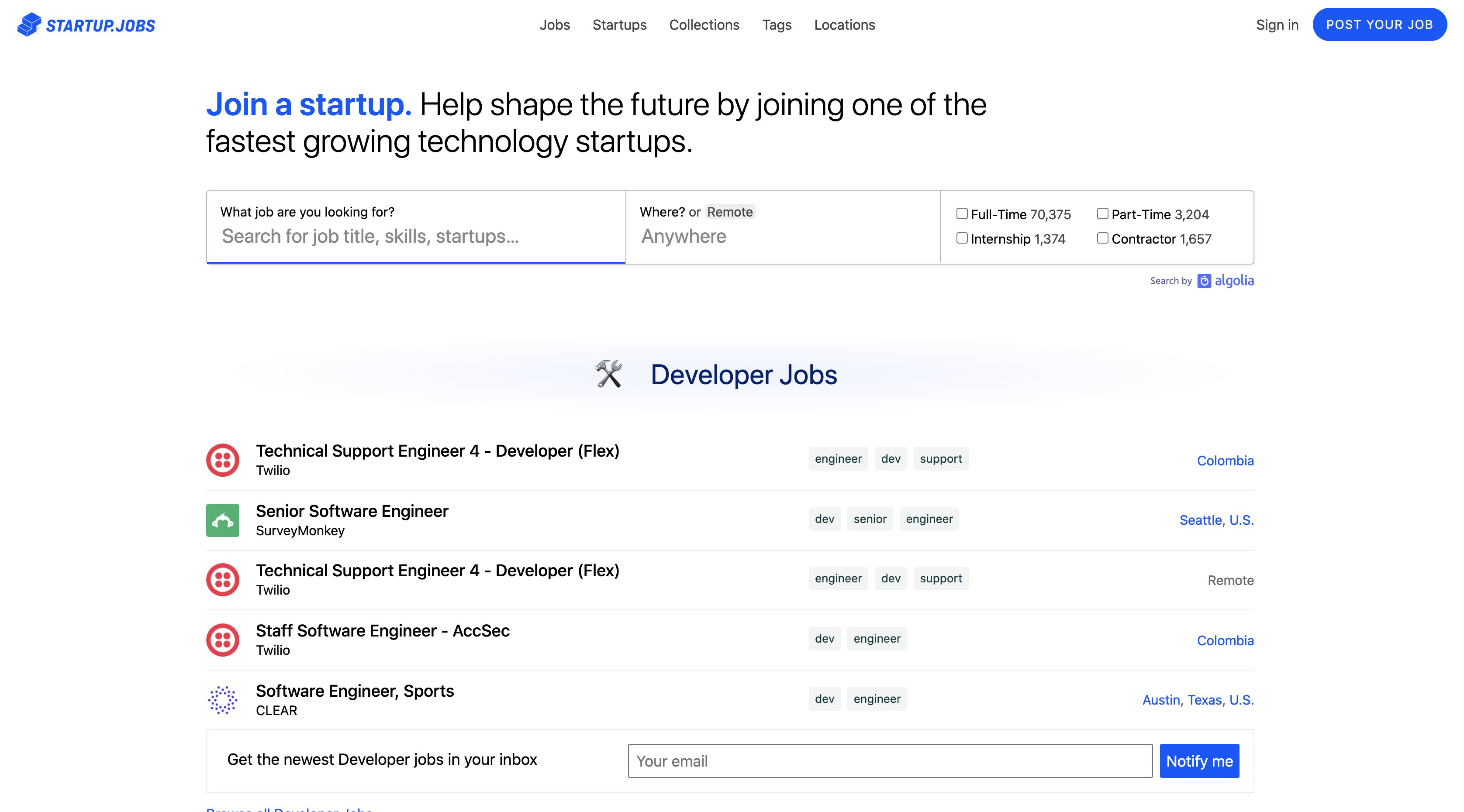 Startup.Jobs homepage