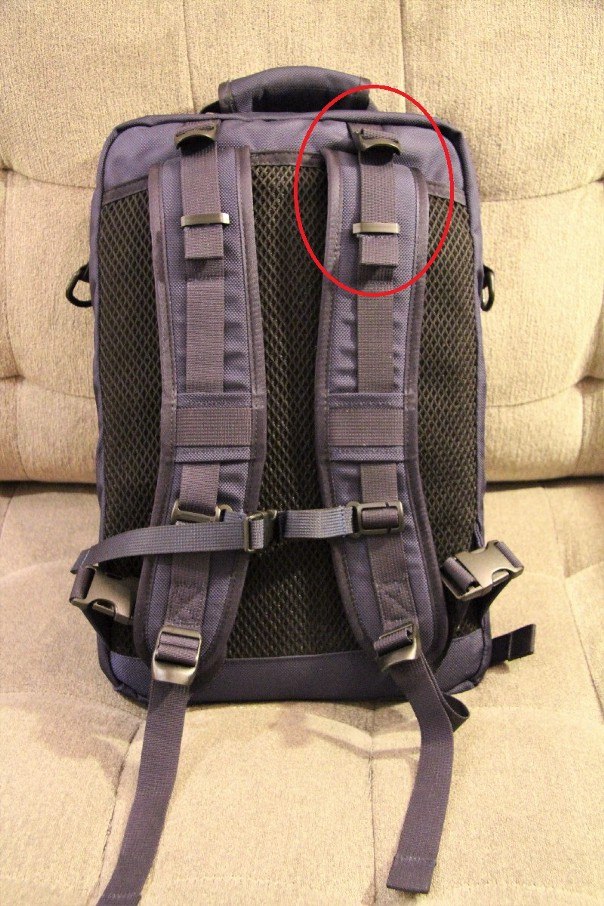 load lifter straps on the nya-evo fjord36, dsptch bookpack, and deuter act  lite (left to right)
