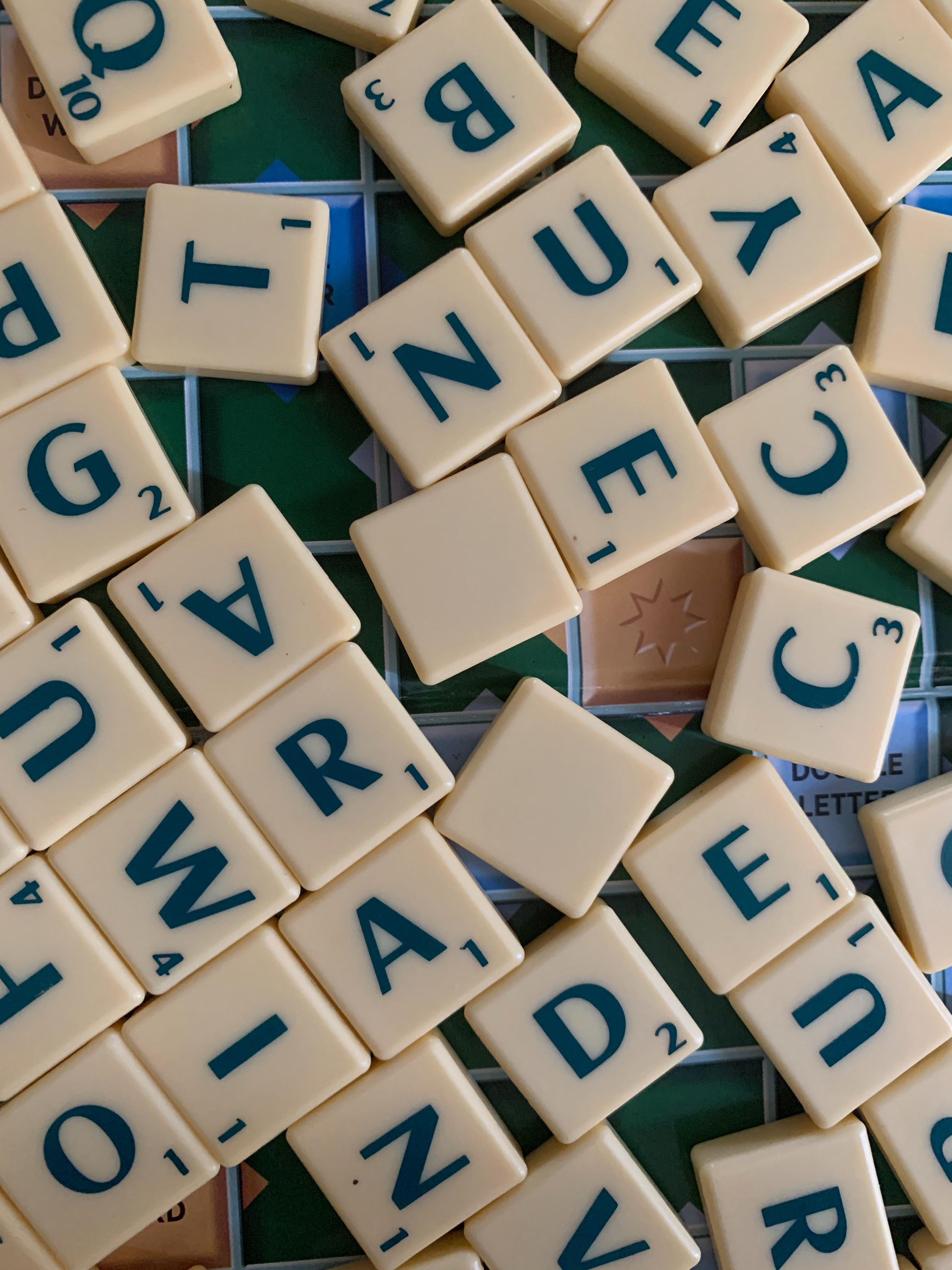 Pieces from a game of scrabble.